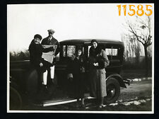 Orig. Vintage Photograph, family travel by old car Landaulet (?) 1930's Hungary