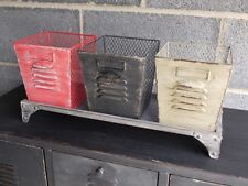 Vintage Industrial Metal Painted Storage set of 3 Mesh Pots & Stand Shabby Chic