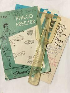 Vtg Philco Plastic Ice Scraper & 3 Freezer Refrigerator User Manuals 1959 & 1964