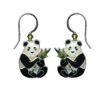 PANDA BEAR Cloisonne EARRINGS Enamel STERLING Silver by Bamboo Jewelry - Boxed