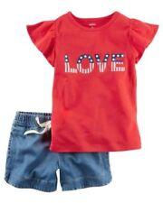 Completi rossi con maniche corte per bambina da 0 a 24 mesi