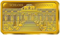 Sonderprägung Goldbarren Schloss Sanssouci, (999,9/1000), Polierte Platte