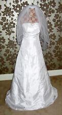 Vestido de boda sin Tirantes Clásico Marfil línea A + Velo Nupcial 2 nivel Enaguas NUEVO