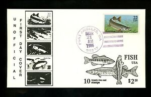 US FDC #2205-2209 LGS 1986 Port Angeles WA Fish Unofficial Set of 5
