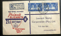 1947 Capetown South Africa First Day Cover Princess Elizabeth 21st Birthday