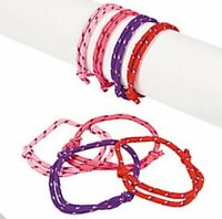 Girls Pink Friendship Bracelets - Princess Party Bag Fillers - Pack Size 6 - 48
