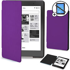 Purple Smart Case Cover Sleeve Shell Kobo Aura Edition 2 Screen Prot + Stylus