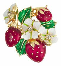 Napier Enamel Strawberry Cluster Pin One Size Red/gold
