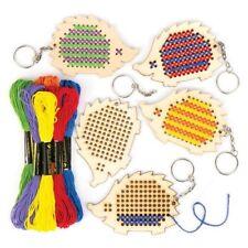 77ab0ef6639 Baker Ross Hedgehog Wooden Cross Stitch Keyring Kits for Childrens Arts
