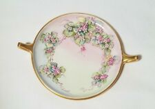 LIMOGES GDA FRANCE FLORAL PLATE GOLD EDGE AND HANDLES
