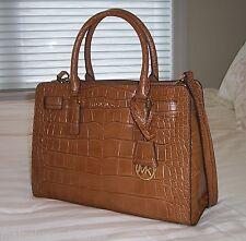 NWT Michael Kors Dillon EW Satchel Bag Croc Embossed Leather Walnut 30H4GAIS3E