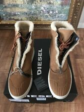 DIESEL GENUINE SHEARLING BOOTS HI TOPS TRAINERS UK10 EU44 LEATHER SHOES