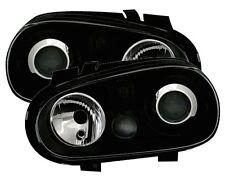 PHARES FEUX AVANT GLACE LISSE NOIR LOOK R32 VW VOLKSWAGEN GOLF 4 MATCH 1 2