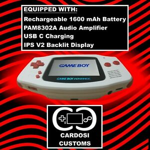 Modded Gameboy Advance GBA AGB-001 Amplifier Backlit IPS V2 Rechargeable Battery