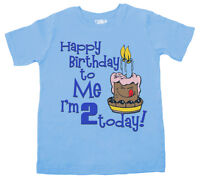 "Birthday T-Shirt ""Happy Birthday to Me I'm 2 Today"" 2 Year Old Gift Party Cake"