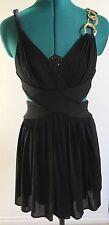 Bcbg Max Azria Black Side Cutout Dress With Chain Strap Open Back, XXS 2XS