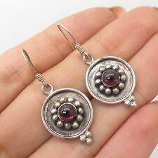 Vtg 925 Sterling Silver Real Pink Garnet Gemstone Drop Earrings