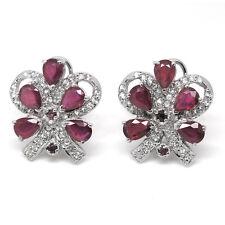 De Buman Sterling Silver Natural Ruby Earrings