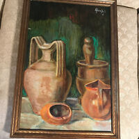 """Nice Vintage """"Still-Life With Jugs Scene"""" Oil On Board Painting - Signed/Framed"""