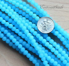 Round Beads, 4mm, Dark Opaque Blue Opal w/Frosted, Seaglass Finish, 21 Pieces.
