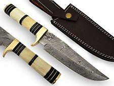 Harpoon Hunting knife Damascus steel blade Bone handle AT-2513