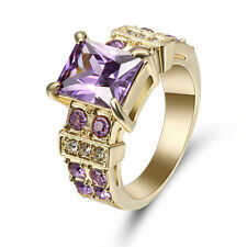 Princess Cut Purple Amethyst Wedding Ring Gold Rhodium Plated Jewelry Size 8