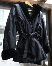 Vintage Danier 100% Leather 3/4 Faux Fur Coat Excellent Quality Sz S Women's