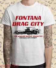 FONTANA CA Hot Rod Rat Dragstrip Hanes T-Shirt Race CAR Cotton Auto Mens Mechani