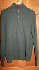 Tommy Hilfiger Men's L  - Dark Gray1/4 Zip Pullover cotton Sweater- leather pull