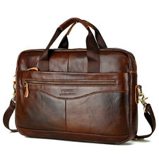 Mens Vintage Leather Handbag Business Shoulder Briefcase Messenger Laptop Bag