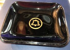 Rare Vintage Bell Telephone Systems Candy Dish Tray Ash Tray Smoked Black Glass
