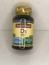 Nature Made Vitamin D3 1000 IU  Value Size 180 Count Softgels Exp.Aug 2022