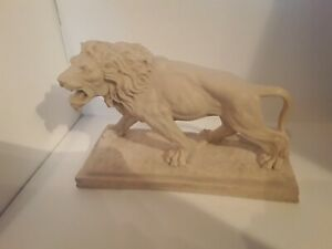 A.Santini marble composite lion large sculpture signed piece