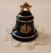 Vintage Limoges Castel France Gold Trim Bell Cobalt Blue