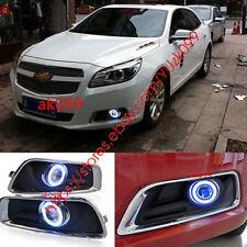 For Chevrolet Malibu 2011-2014 Front Bumper Fog Light Lamp Trim Grille Angel Eye