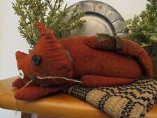 Primitive Folk Art OOAK Cat Signed Annie 05 Saw Dust Filled Red Calico