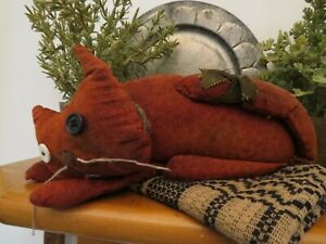 Primitive Folk Art OOAK Cat Signed Annie 05 Saw Dust Filled Red Calico