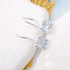 Blautopas blau schlicht rund Design Ohrringe Ohrhänger 925 Sterling Silber neu