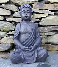 Large Sitting Buddha Statue Stone Effect Garden Ornament Thai Weatherproof 39cm