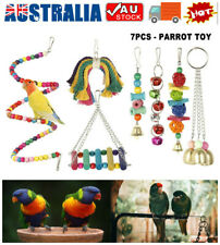 7X Parrot Hanging Swing Bird Cage Toys Parakeet Cockatiel Budgie Harness Toy AU