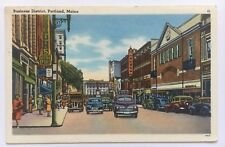 1962 ME Postcard Portland Maine Business district street cars Tichnor Bros linen