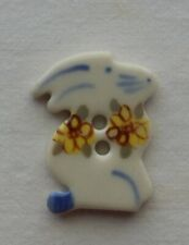 CERAMIC EASTER BUNNY FLAT BUTTON