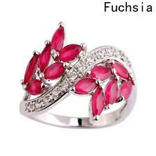 Fashion Natural Amethyst Red Garnet Gemstone Zircon Silver Ring Size 6 7 8 9