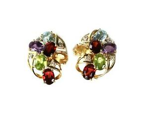 Diamond Multicolor Gems 14k Yellow Gold Floral Huggie Earrings LIQUIDATION!