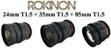 Rokinon Super Fast T1.5 Cine Lens Kit for Sony E-Mount - 35mm + 24mm + 85mm