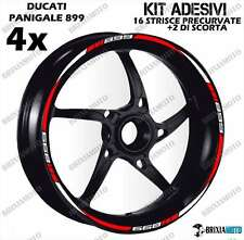 899 PROFILE WHEEL RIM STICKERS TWO-TONE PANIGALE DUCATI WHITE RED STRIPS