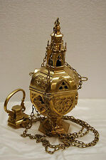 BRASS CHURCH CENSER / THURIBLE LIGHTLY USED.