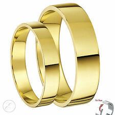 9ct Yellow Gold Bands His-Hers 4mm & 5mm Flat Shape Wedding Rings Solid Gold