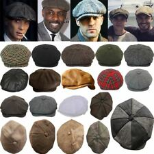 Men's Linen Wool Tweed Herringbone Check Peaky Blinders Button Newsboy Cap