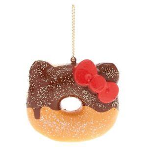 Sanrio Hello Kitty Half Chocolate Donut Squishy Keychain Charm Squish Keychain